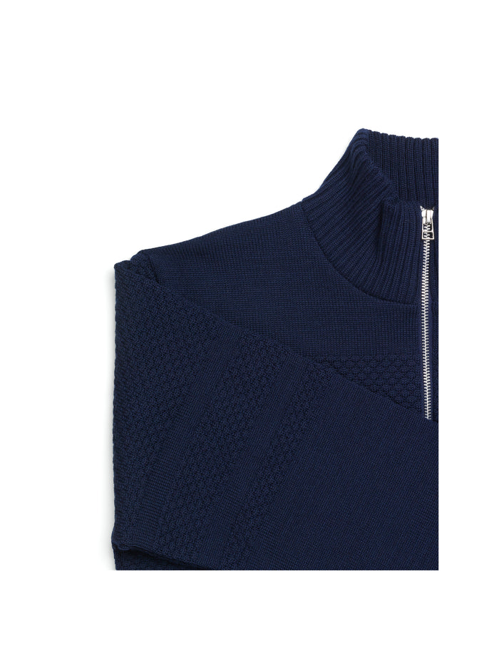 100% Wool Klemens Zip, Navy