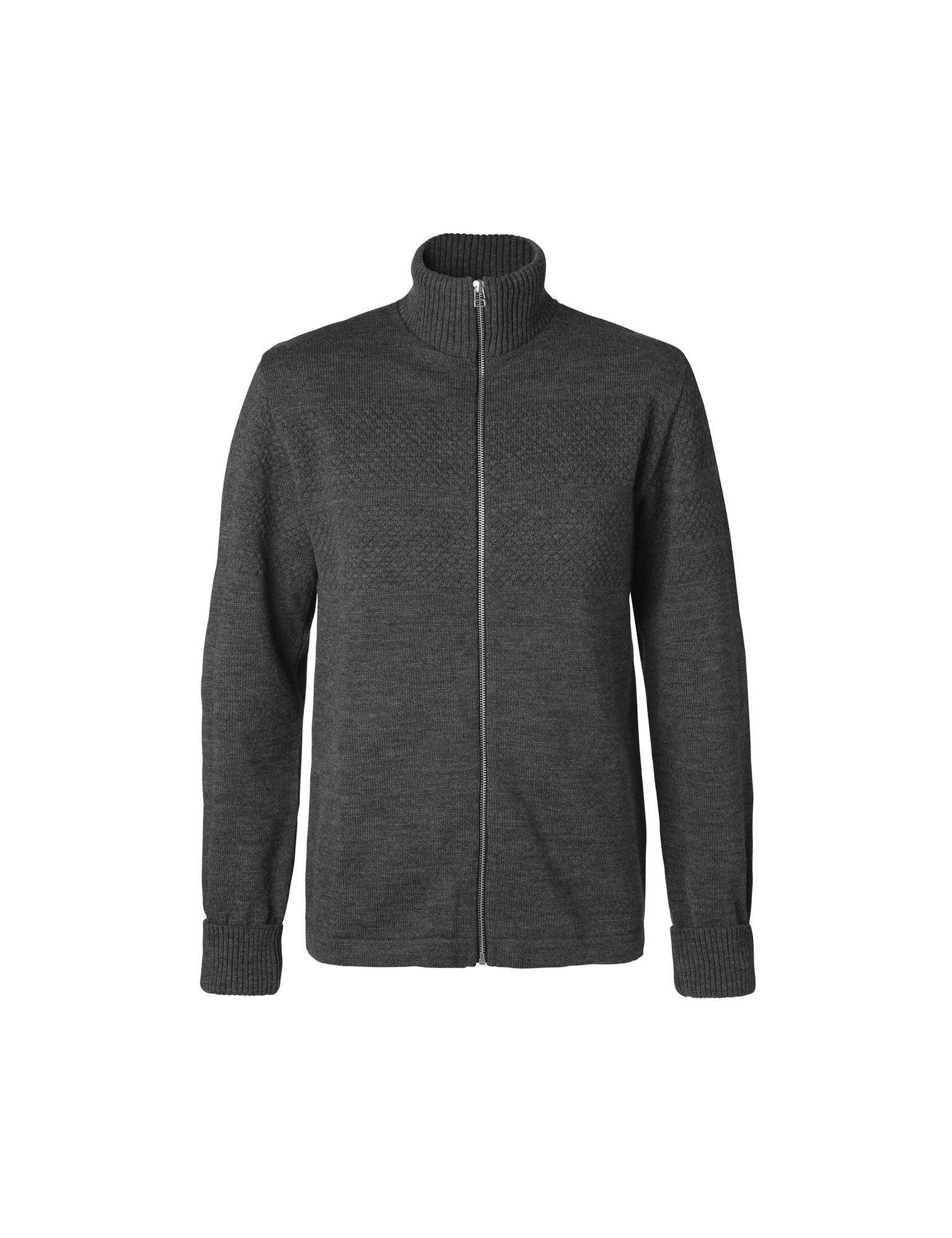 100% Wool Klemens Zip, Charcoal Melange