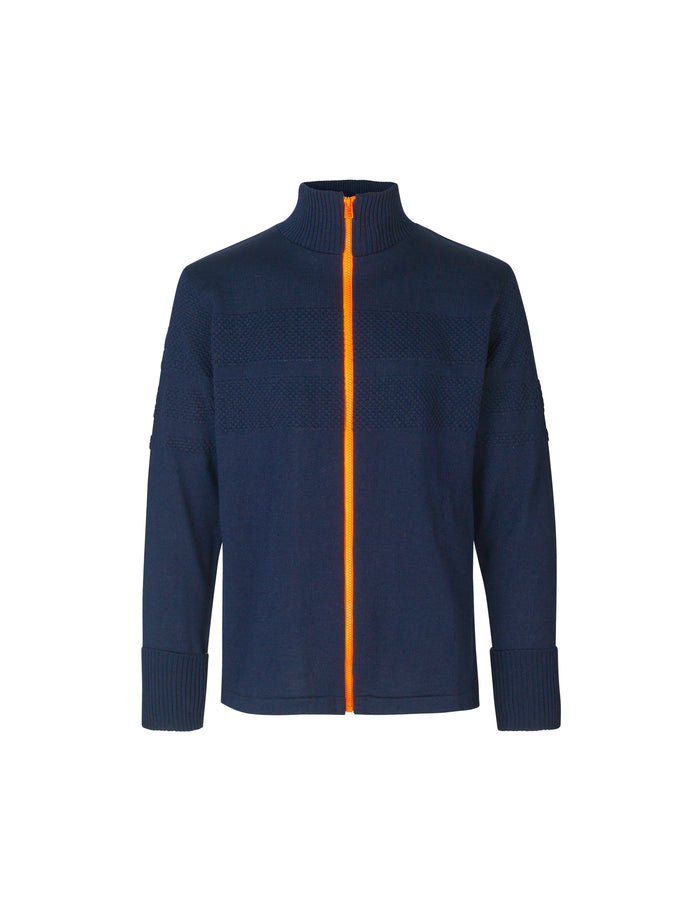 100% Wool Klemens Zip Kontrast, Sky Captain/Orange