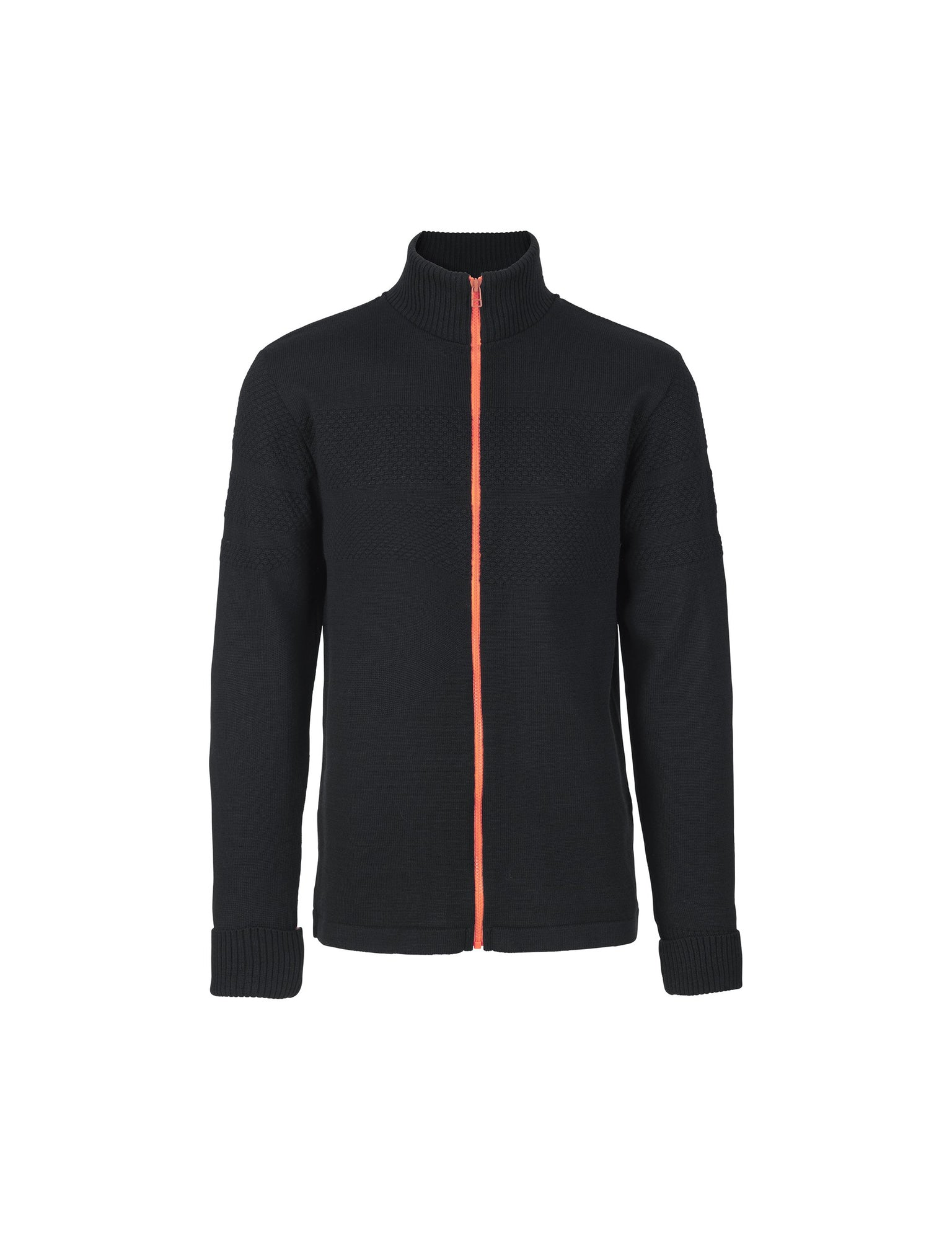 100% Wool Klemens Zip Kontrast, Navy/Orange
