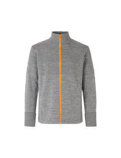 100% Wool Klemens Zip Kontrast, Grey melange/Orange