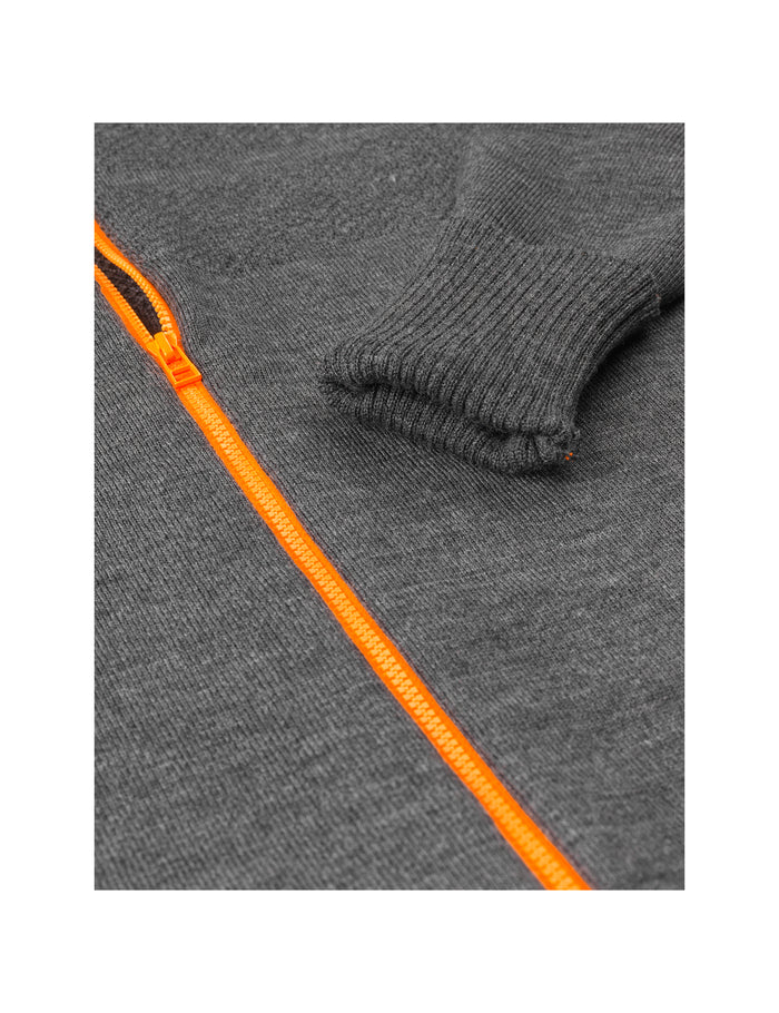 100% Wool Klemens Zip Kontrast, Charcoal melange/Orange