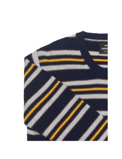 Reversed Knit Kenny Stripe, Navy/Grey Melange/Yellow/Sassa