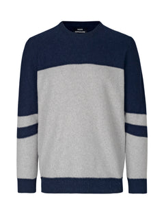 Reversed Knit Kenny Stripe, Navy/Grey melange