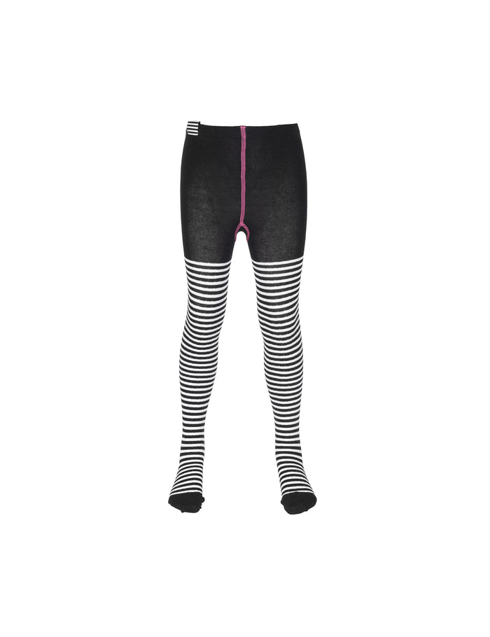 Cotton Rib Tights, Black/White