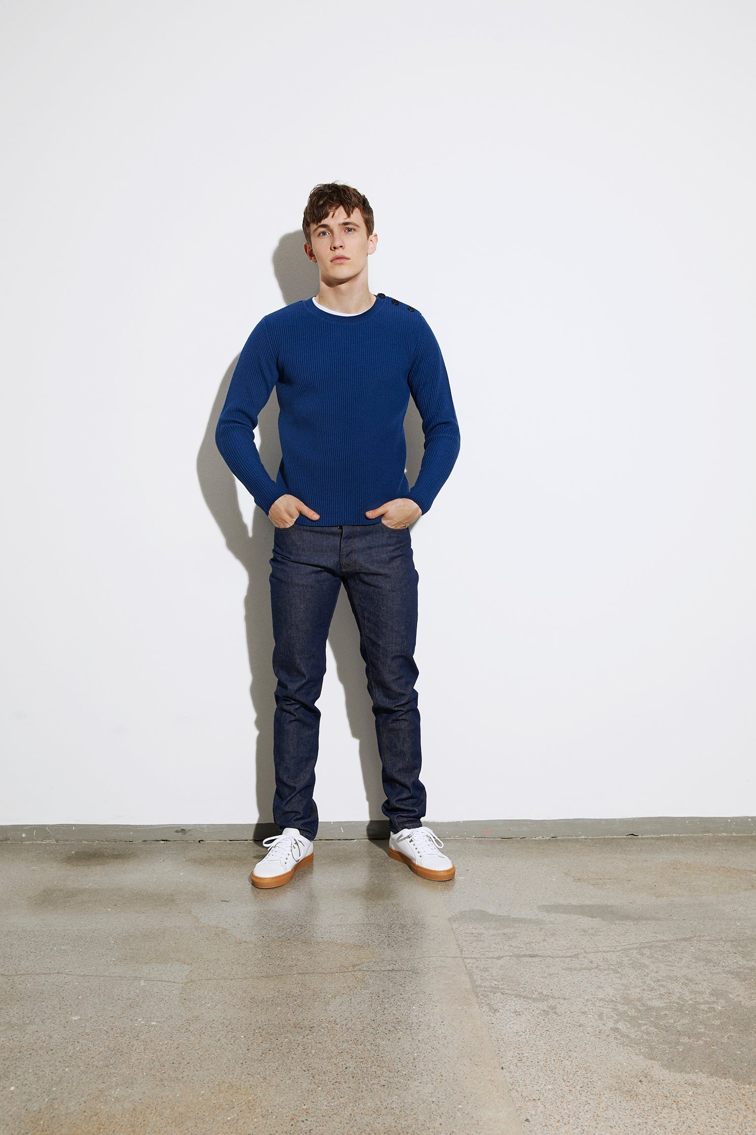 Fine Mono Wool Kaptain, Dark Denim
