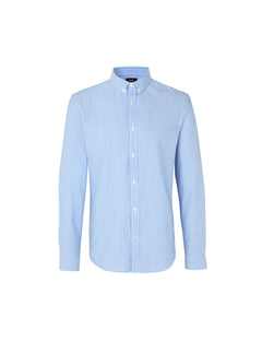 Striped Oxford Sawsett, Wide Light Blue Stripe