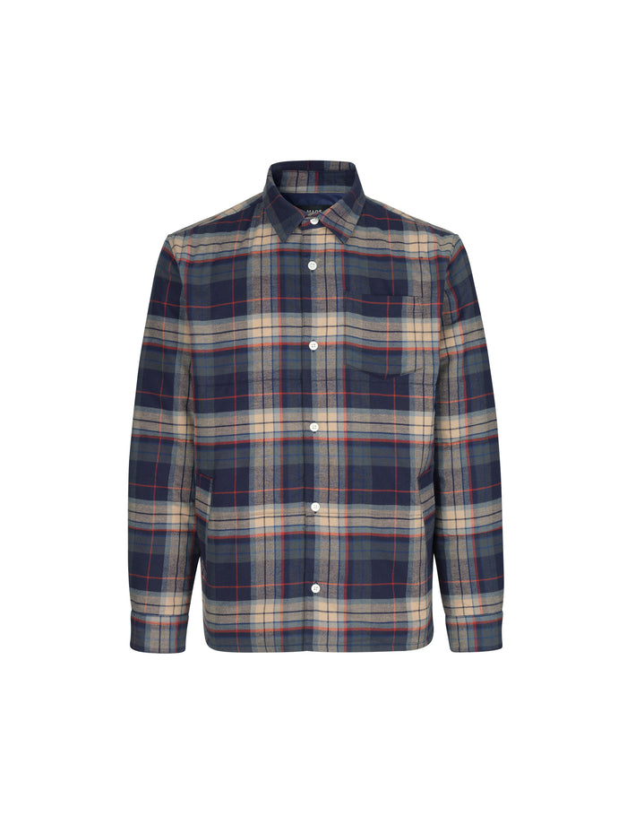 Padded Check Simon, Navy/Beige Check