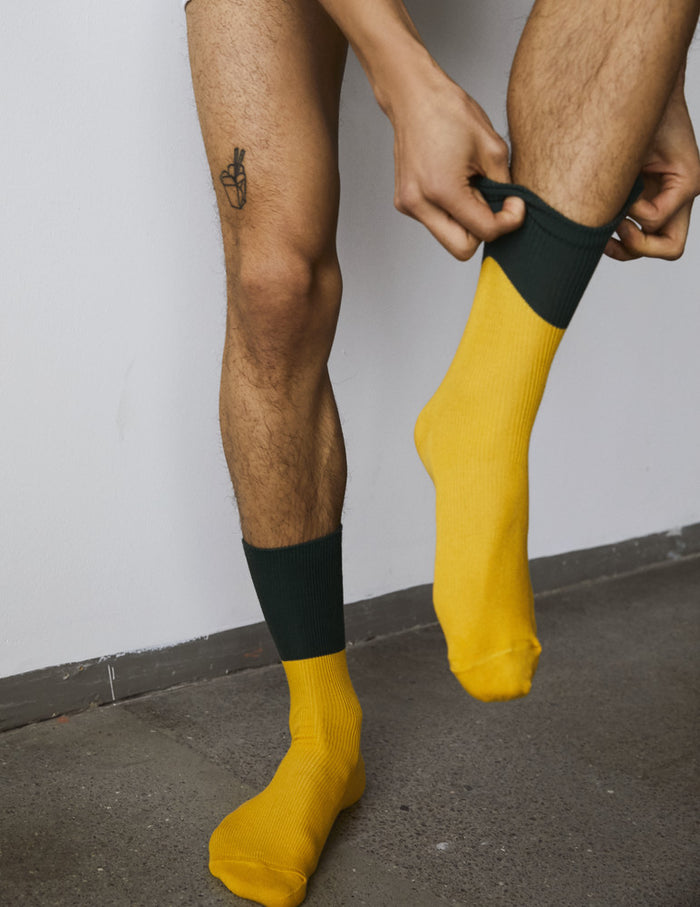 Berdal Sock Austin, Army green/Yellow