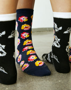 Flower Sock Annika, Black/Ecru