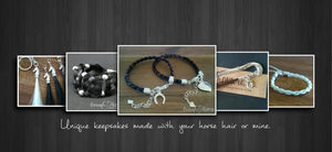 Handmade Braided Horse Hair Bracelet keepsake keyring in silver by Living Horses