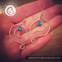 Sterling Silver Wire Horse Head Earrings