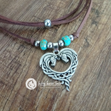 Celtic Boho Horse Head Heart Leather Necklace with Turquoise & Silver look Beads