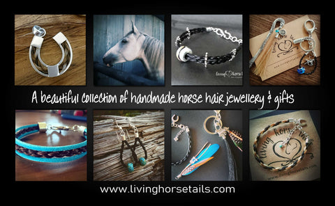 Living Horses offers a beautiful range of handmade items including custom braided Horse Tail Hair Bracelets, Earrings, Pendants, Necklaces,Keepsakes, Gifts and more, using your horse hair or mine. Living Horse Tails.