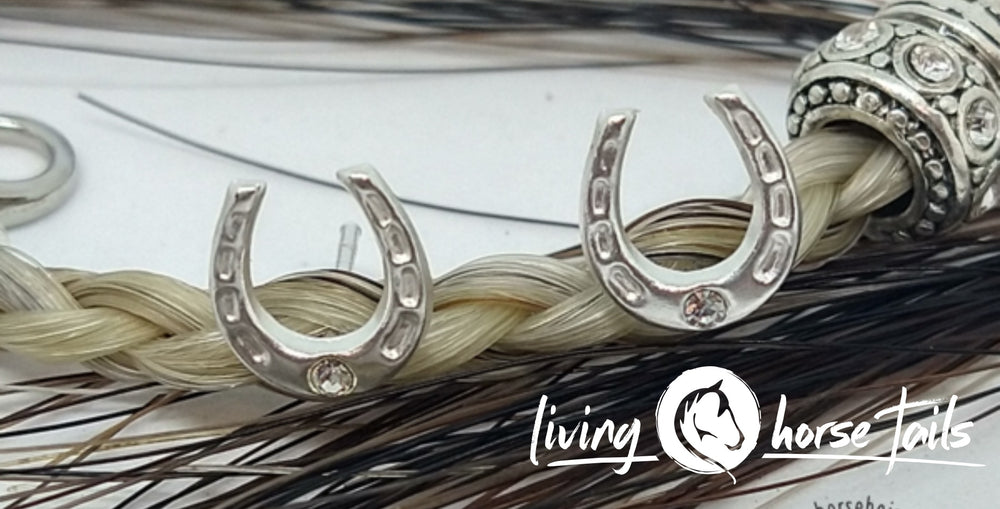Sterling Silver Horseshoe Stud Earrings with Crystal Detail by Living Horse Tails