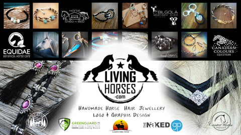 Living Horses graphic design logo horsehair jewellery bracelets keepsakes with horse tail hair