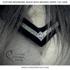 handmade braided leather horse hair bling crystal rhinestone padded show dressage browband by living horses