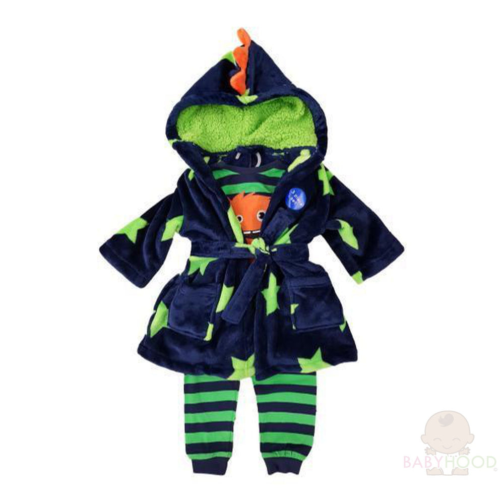 Boys Long Sleeve Monster Pyjamas & Dressing Gown Set