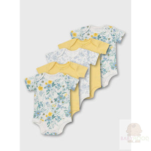 Lemon and White Floral Print Bodysuits