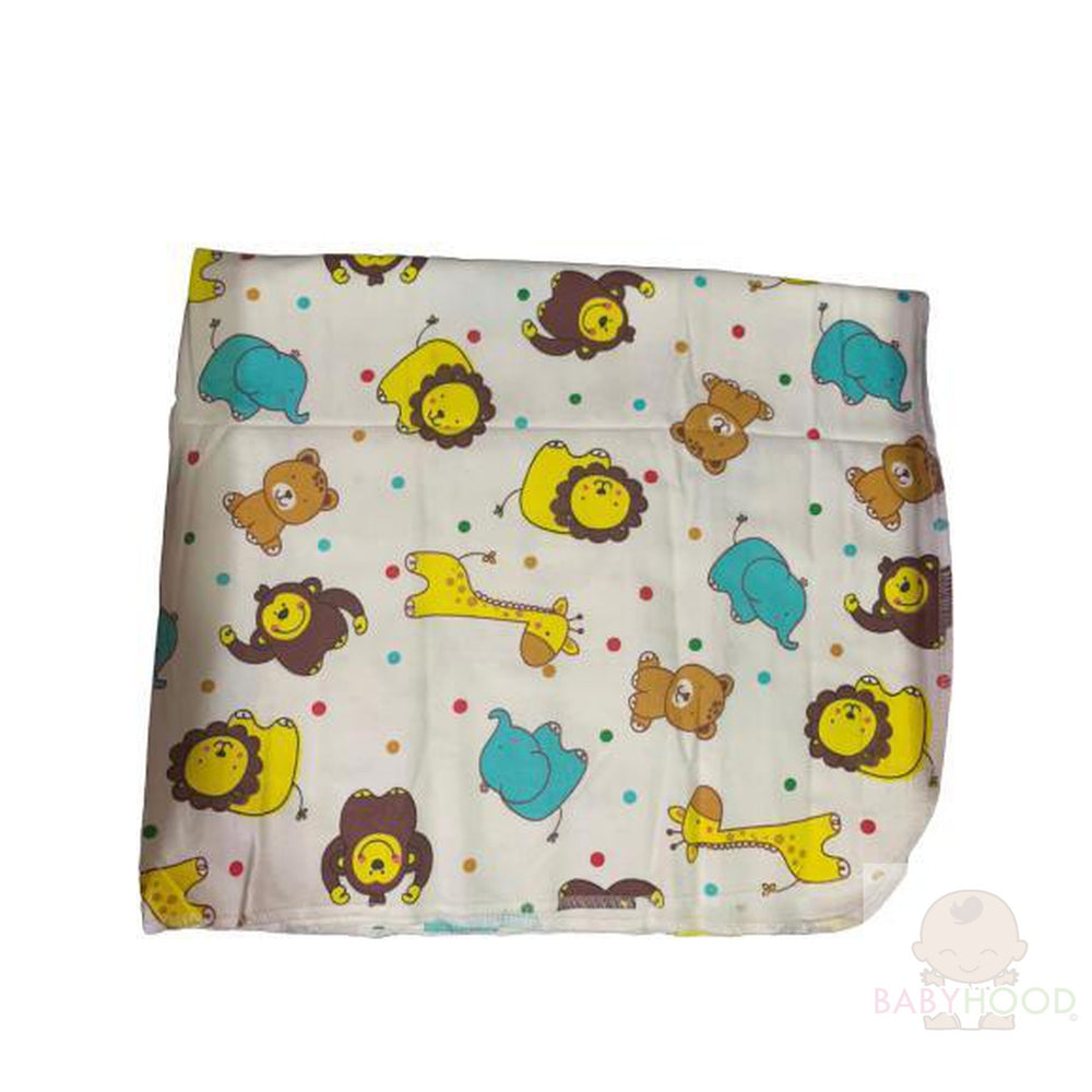 Carters White with Animals Single Receiving Blanket