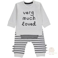 White Striped Very Much Loved Slogan Top and Joggers Outfit