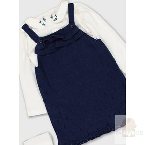 Navy Pinafore With Bodysuits and tights