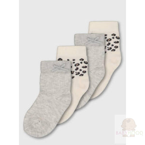 Grey and Beige Leopard Print Socks