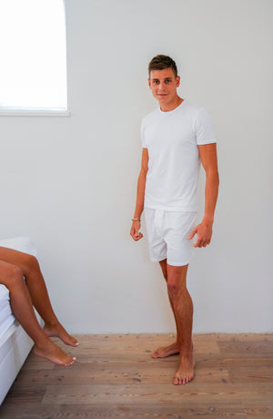 Men's Boxers with Silk Fly White - Pom Lampson