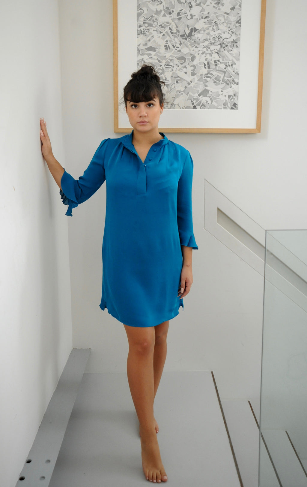 Bardot Silk Dress Teal - Pom Lampson