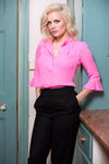 Bardot Silk Shirt Hot Pink - Pom Lampson
