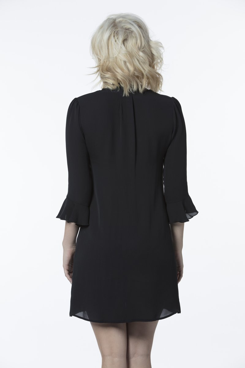 Bardot Silk Dress Black - Pom Lampson