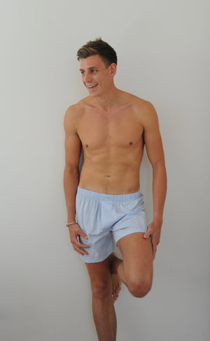 Men's Boxers with Silk Fly Pale Blue - Pom Lampson