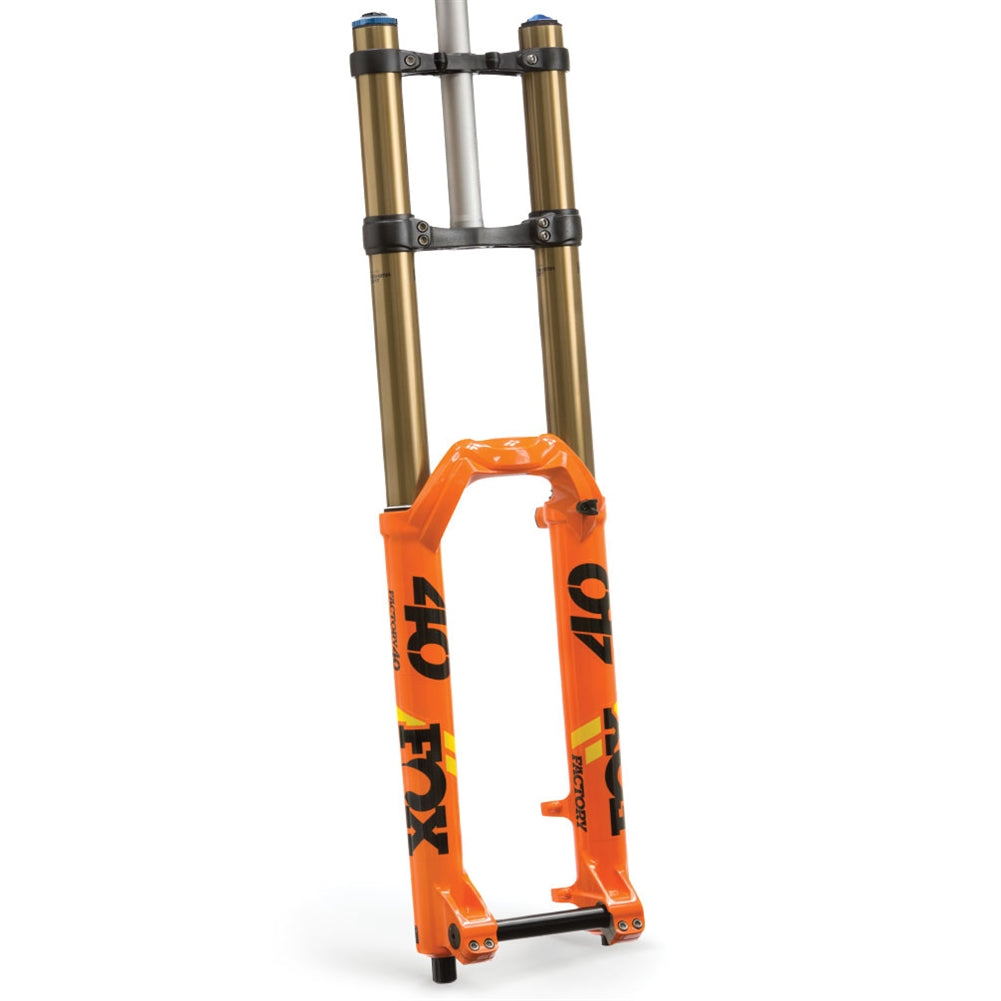 Fox Racing Shox 2019, 40, K, Float, 27.5in, F-S, 203, Grip 2, HSC, LSC, HSR, LSR, Shiny Orange, Black/Yellow Logo, 20TAx110, 1.125, Flat, 52mm Rake Matte Blk, AM