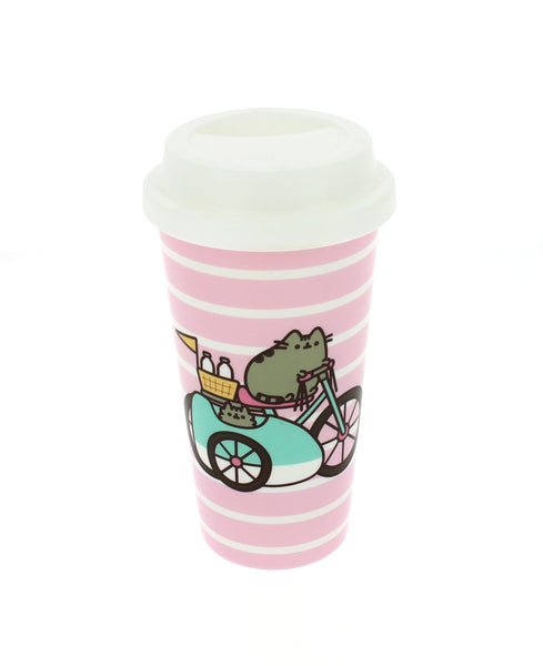 Pusheen Let's Go Striped Travel Mug