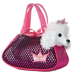 Fancy Pals Poodle in pink carrier