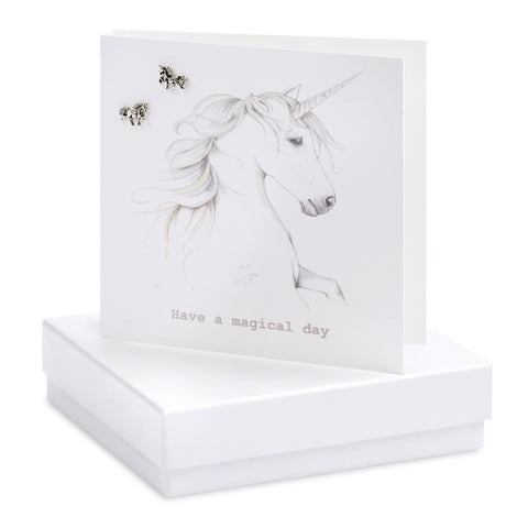 Unicorn Crumble and Core earrings greeting card