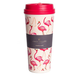 Sara Miller Thermal Travel Mug 600ml Pink Flamingo