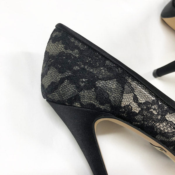 *Rose Avenue Black Lace - Sample, 11cm with 2cm platform, size UK 2.5