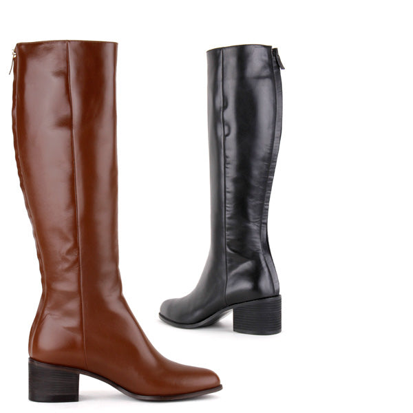 791e074a4781 Small Size Hand Made Black Leather Knee High Mid Heel Boots Alice By Pretty  Small Shoes