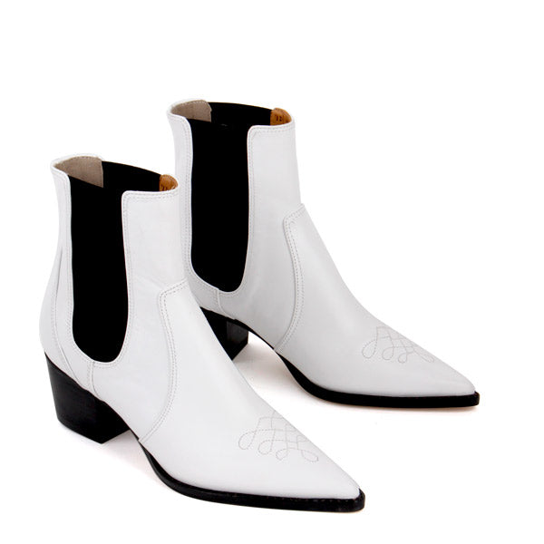Petite Size White Leather Chelsea Boots