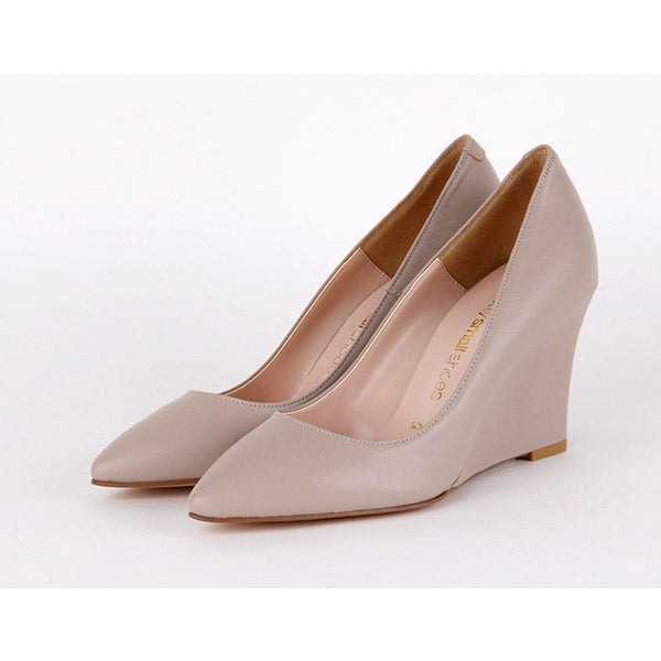 *DARLING - leather, beige, 8cm wedge, size UK 13