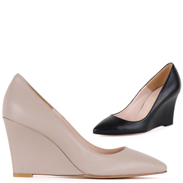 58547607161a Small Size Uk 1 Uk 2 Ladies Leather Wedge Heels Darling Leather By Pretty  Small Shoes