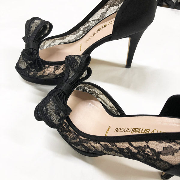 *First Moment Lace Open Toe sample, black, 11cm with 2cm platform, size UK 2.5