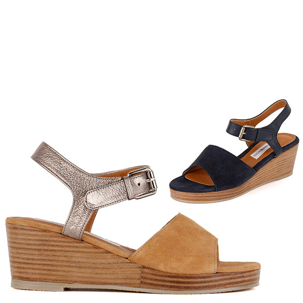 59b162647107 Petite Size Ladies Beige Navy Ankle Strap Summer Wedge Heels by Pretty  Small Shoes