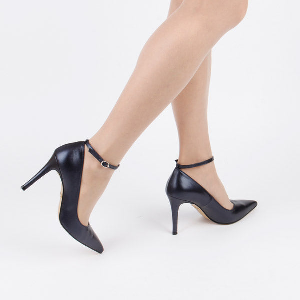 *NOTI NAVY - ankle strap - navy blue, 9cm size UK 2.5