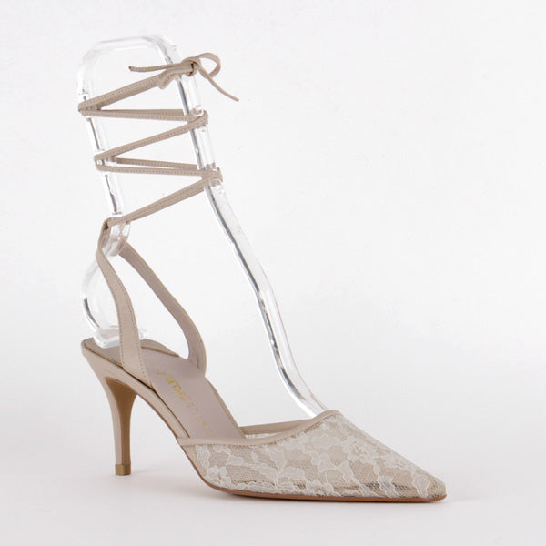 *BELINA SAMPLE, ivory lace, 8cm with 1cm beige leather platform, size UK 2