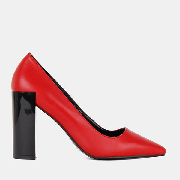 *ROSEN - red leather, 8cm,  size 35