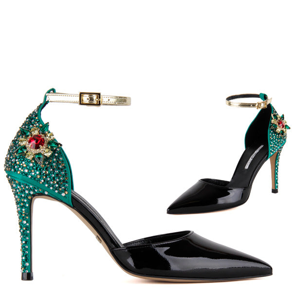 10487b1ec Petite Size Jewelled Multi Coloured Paty Heel Romanza By Pretty Small Shoes