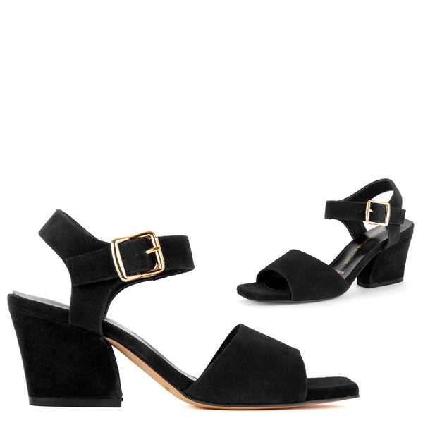 *ELYSIA - black suede, 6cm size UK 1