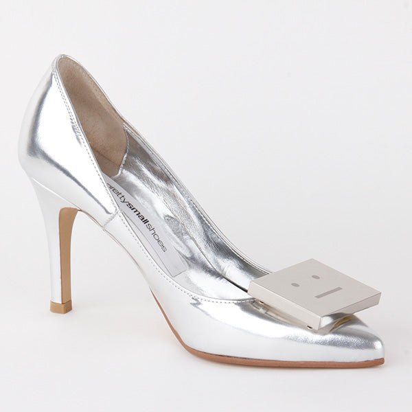 e5caec98c petite hand made silver leather funky high pumps flak silver By ...